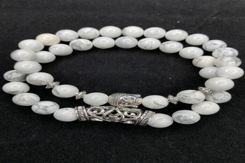 White Buddha Turquoise Stone Bracelet with Silver Accents
