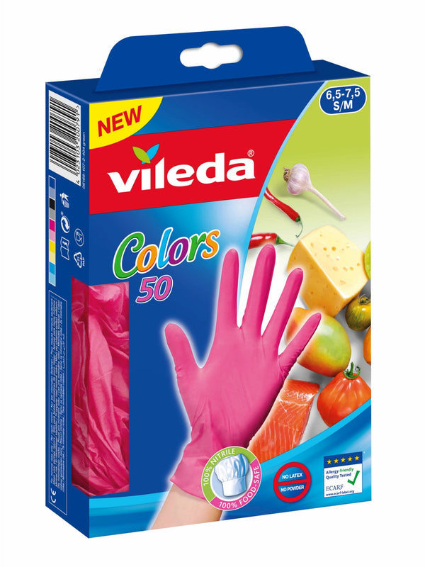 Vileda colors Guanti in Nitrile 50pz  (simil lattice) Misura s/m