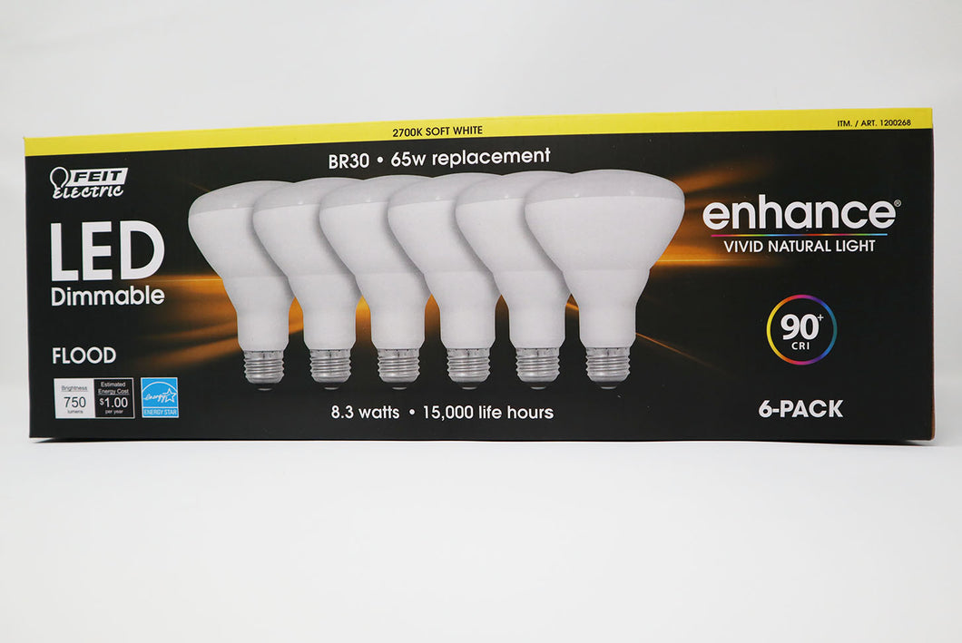 BR 30 - 65 Watt Flood Replacement Bulbs / 6 pack