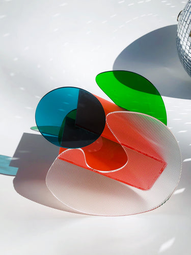 The Thea Vessel in Green, Poppy, Teal, + Ribbed Acrylic