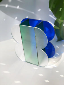 The Gretchen Vessel in Cobalt, Deep Green, + Ribbed Acrylic