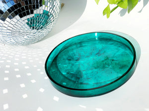 Large Circular Catchall Tray in Teal Resin + Black Tourmaline