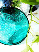 Load image into Gallery viewer, Large Circular Catchall Tray in Teal Resin + Black Tourmaline