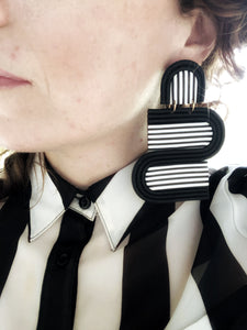 The Opus Earring in Black + White Stripe+ Coral