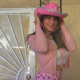 pink cowgirl hat with tiara