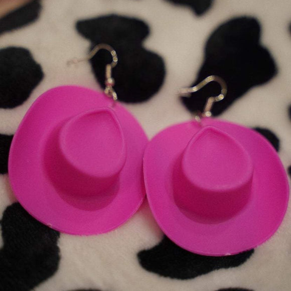 vertical pink cowgirl hat earrings