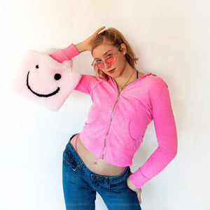 pink smiley cowgirl clutch