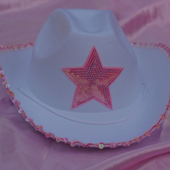 white cowgirl hat with star