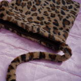 brown cheetah fur tote