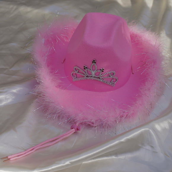 pink cowgirl hat with faux fur rim and tiara