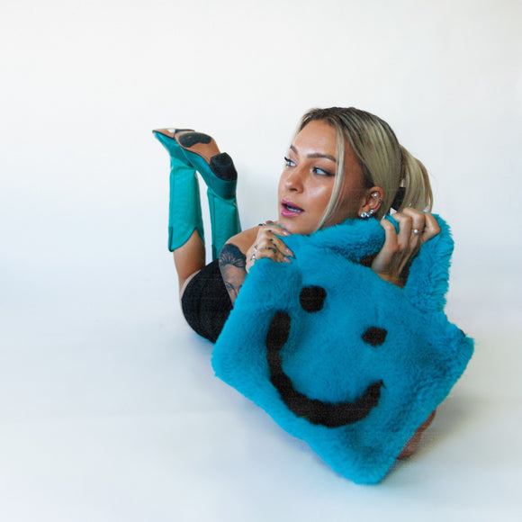 blue smiley cowgirl clutch