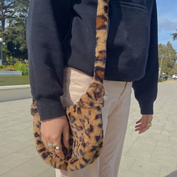 teddy leopard mini tote
