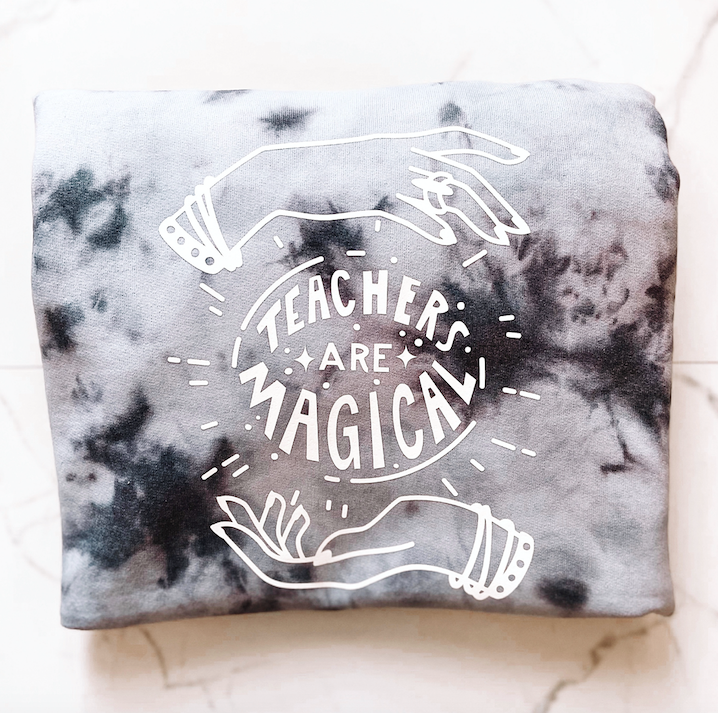 """Teachers are Magical"" Dyed Crewneck Sweatshirt"