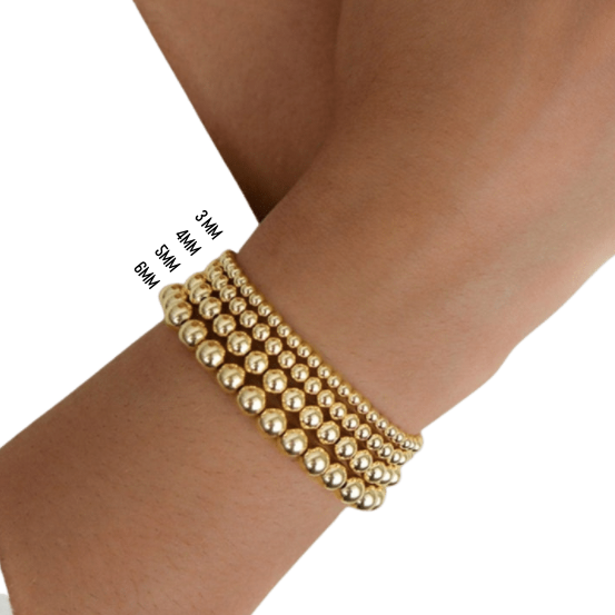 Personalized Gold Beaded Bracelet