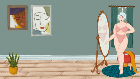 piccasso style illustration of a woman looking in a full size mirror