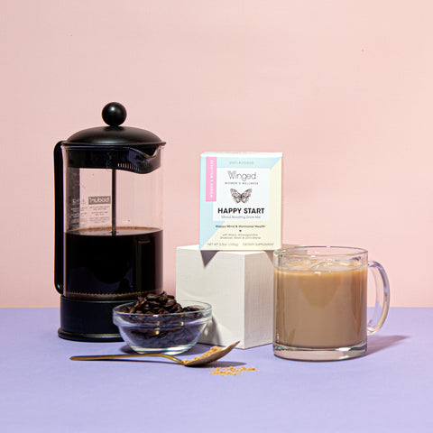 French press, Winged Happy Start and a mug of coffee