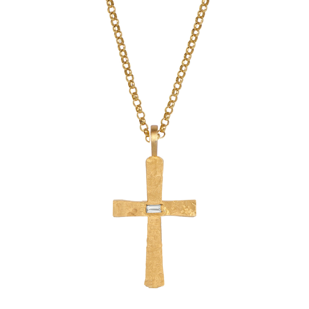 Santos Cross with Diamond Baguette on Chain
