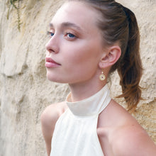 Load image into Gallery viewer, Model wearing La Rioja Amor Medallion Earrings