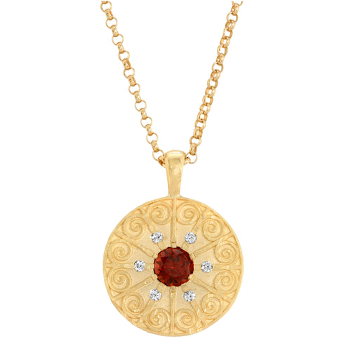 La Rioja Amor Garnet Medallion with Chain