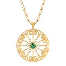 Load image into Gallery viewer, La Rioja Emerald Open Medallion with chain