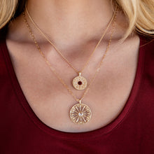 Load image into Gallery viewer, La Rioja Rose Cut Diamond Open Medallion and Garnet Medallion on model
