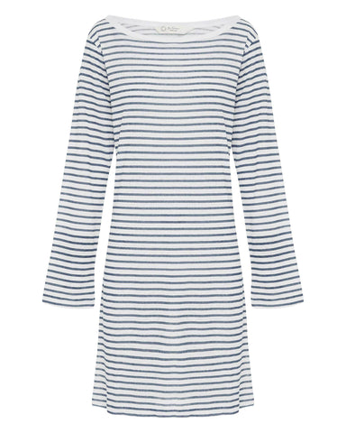 Blue & White Striped Linen Dress - Boat Neck