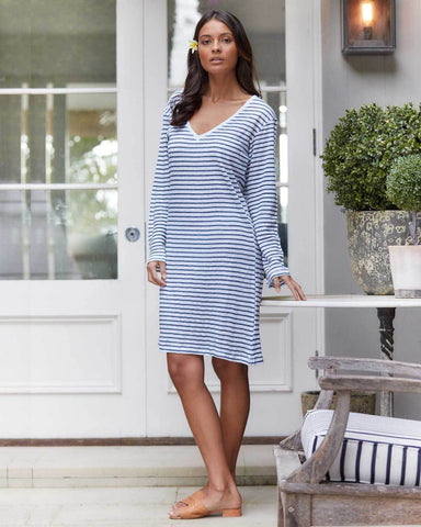 Blue & White Striped Linen Dress - V Neck