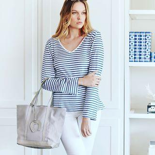 Blue & White Striped Long Sleeve Top - V Neck