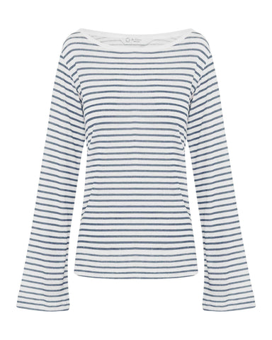 Blue & White Striped Long Sleeve Top - Boat Neck