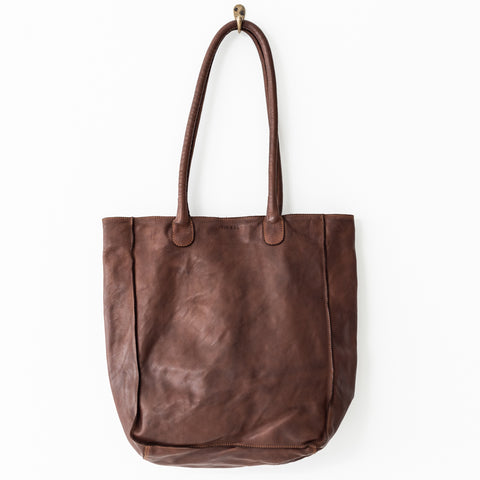 Leather Tote Bag - Cognac