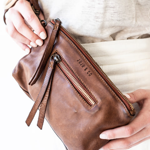 Small Leather Pouch - Cognac