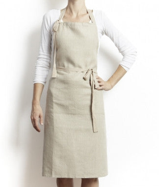 Full linen apron in Ecru