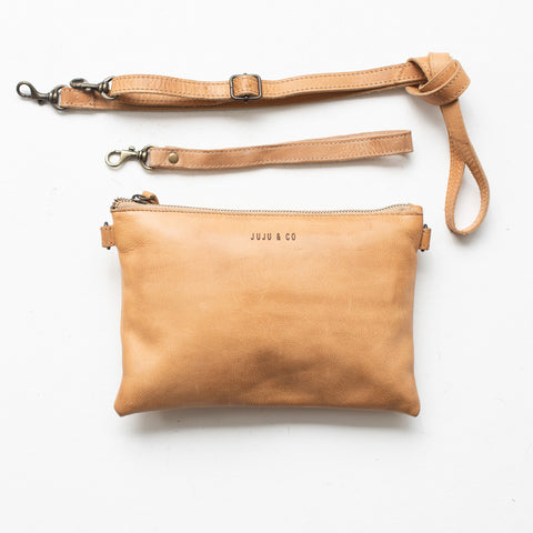 Leather Cross Body Pouch - Natural