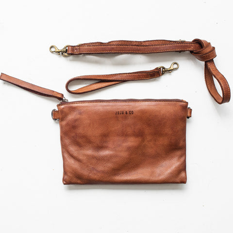Leather Cross Body Pouch - Cognac
