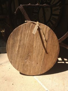Small round recycled elm bread or cheese board