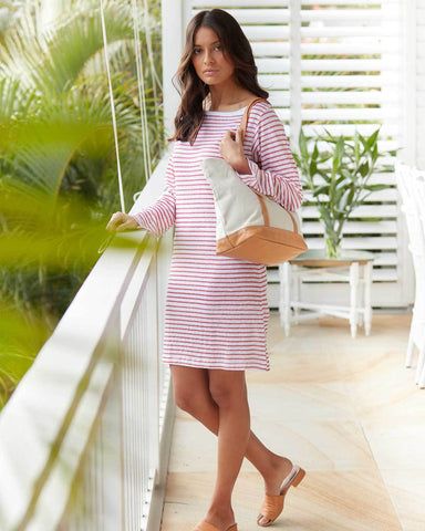 Red & White Striped Linen Dress - Boat Neck
