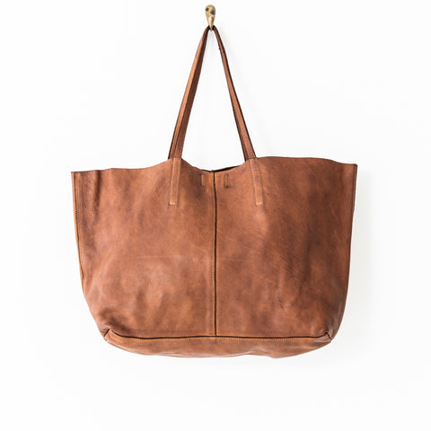 Unlined Leather Tote Bag - Cognac