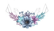 Blue, purple and teal tropical flowers with crystal point outlines popping up from behind.