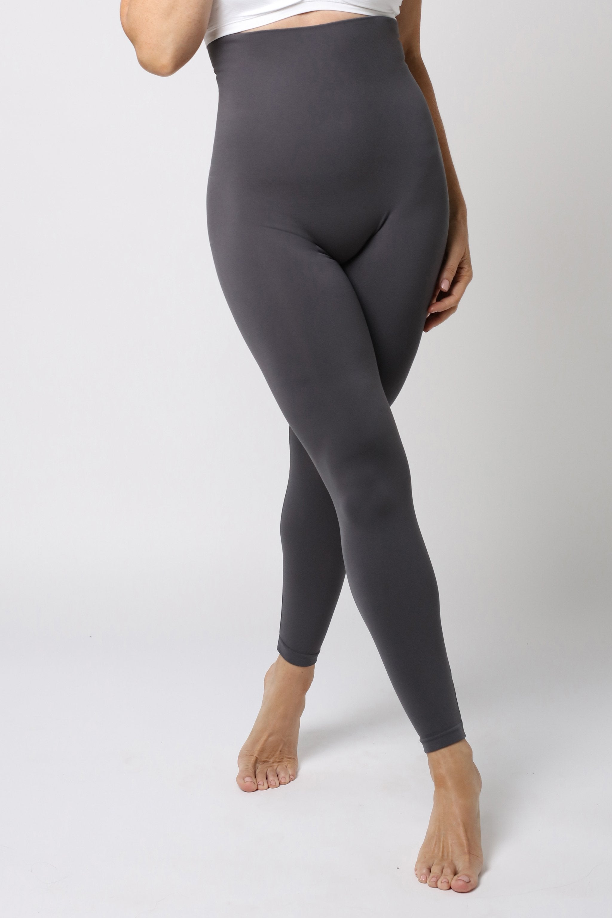 graue Legging - Anthrazit Grau