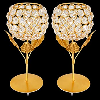 TINNY PANDA™ Golden Rose crystal tealight candle holder for home decor