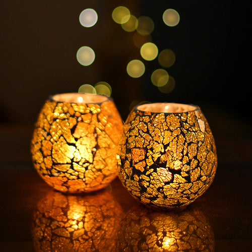 TINNYPANDA™ Creative modern yellow glass tealight candle jar for home decor (SET of 2)