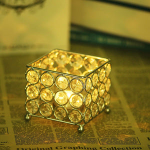 TINNY PANDA™ Creative modern golden crystal tealight candle jar for home decor