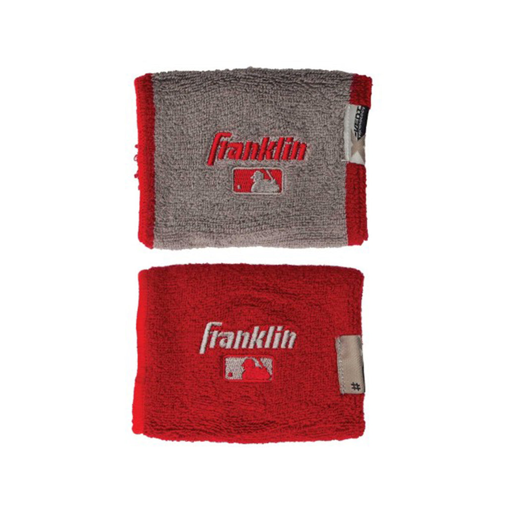 Muñequeras Franklin 4 in MLB X-Vent Reversible Rojo Gris