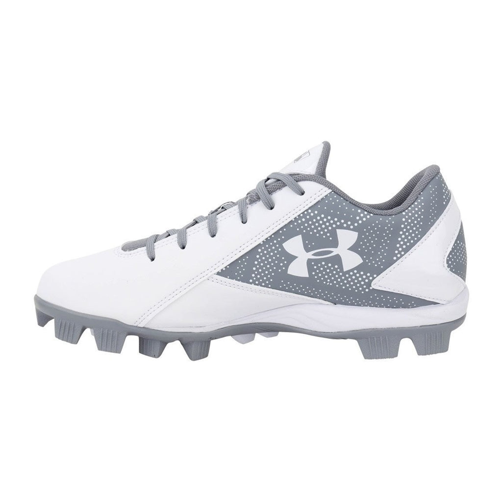 Spikes Beisbol Softbol Under Armour Leadoff Low Blanco Gris INFANTIL