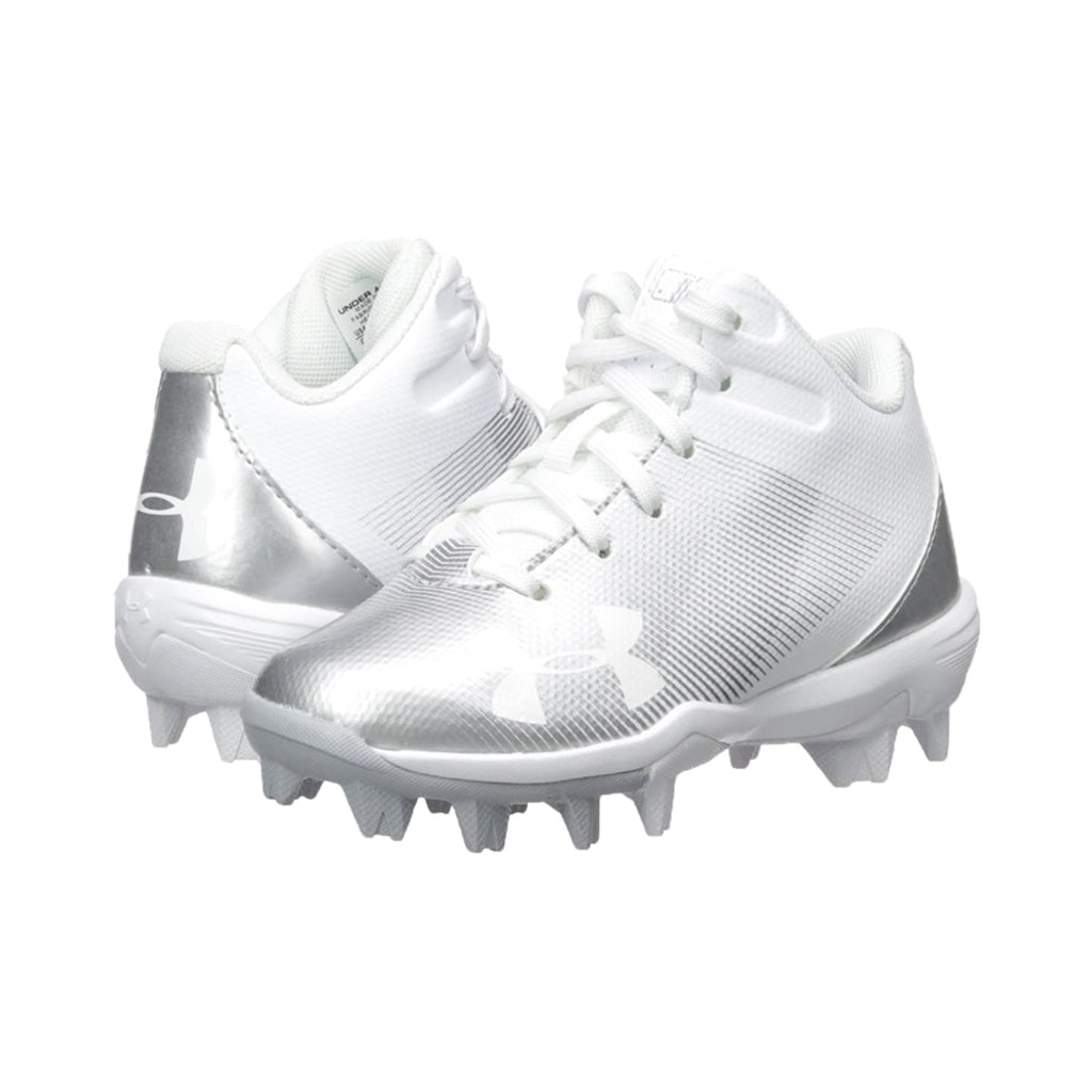 Spikes Beisbol Softbol Under Armour Leadoff Mid Rm Blanco Plata