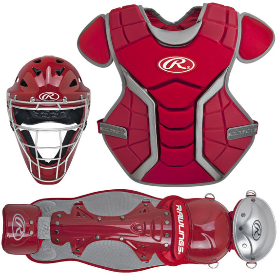 Set Arreos De Catcher Rawlings  Color Rojo De Adulto