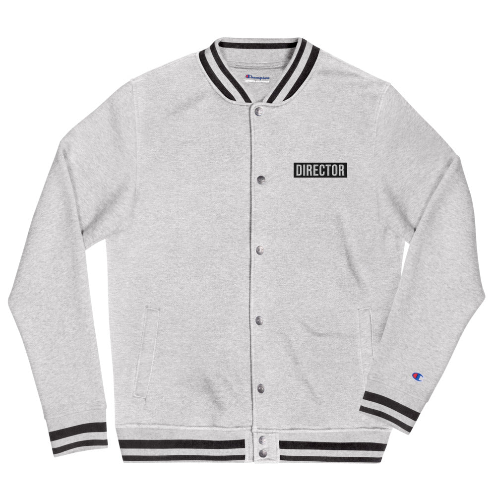 TheDirector Embroidered Champion Bomber Jacket - Heather Grey