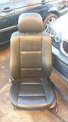 99-05 BMW E46 325i 330i Front Left Drivers Black Seat Leather With Seatbelt - USEDPARTSRUS