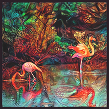 Load image into Gallery viewer, Impressionistic Flamingo Bandanas