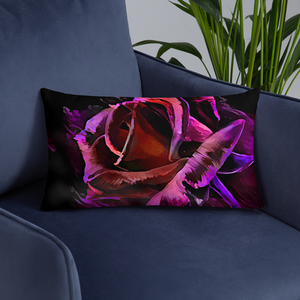 Blacklight Rose Splash Pillow